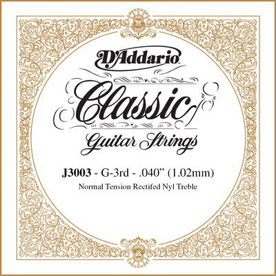D'Addario Classic Single Rectified Nylon 040/J30 3rd Normal Tension