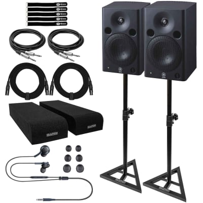 """Yamaha MSP5 STUDIO 5"""" Active Powered Studio Monitor Speakers w Stands & Cables"""