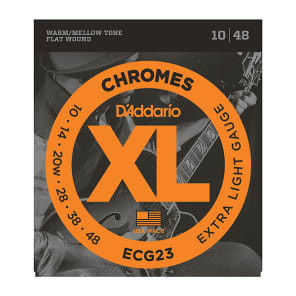 D'Addario ECG23 XL Chromes Flatwound Electric Guitar Strings, Extra Light Gauge