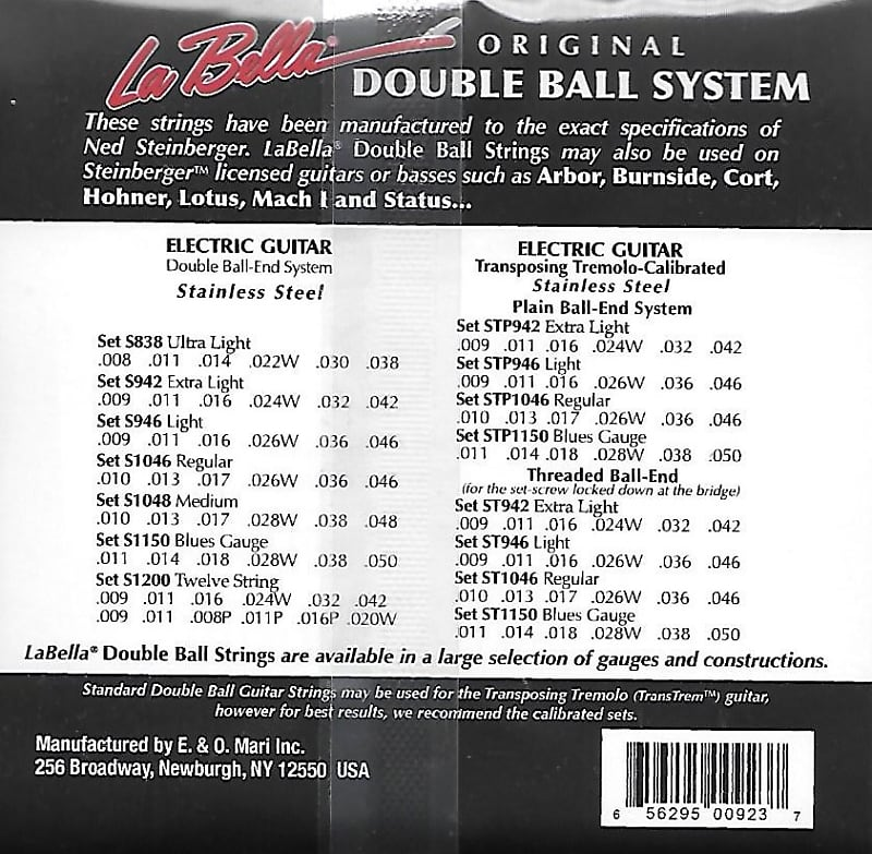 New LaBella Steinberger Double Ball-End Guitar Strings In Stock! All Gauges!
