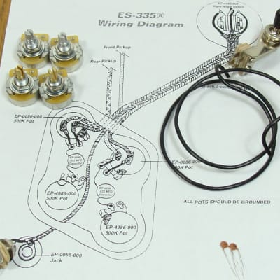 new es-335 pots switch & wiring kit for gibson guitar complete with diagram