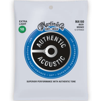 Martin Authentic SP Acoustic Guitar Strings - 12 String, 80/20, Extra Light for sale