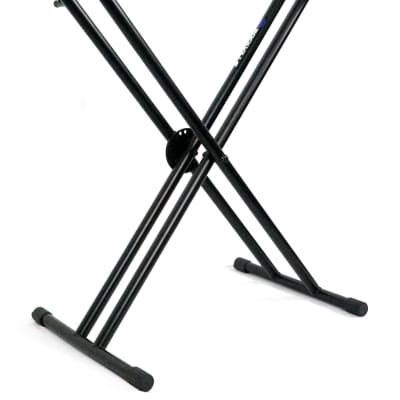 Rockville Double X Braced Keyboard Stand+Push Button Lock For Samson Graphite 49
