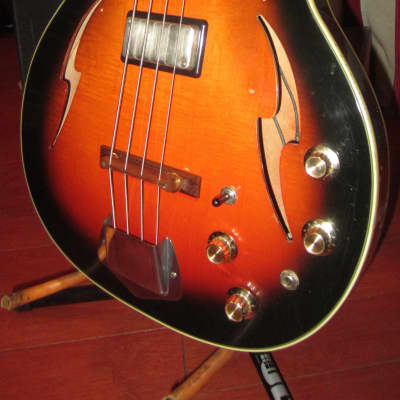 Vintage 1965 Custom Kraft Bone Buzzer Hollowbody Bass Sunburst Original Hard Case for sale