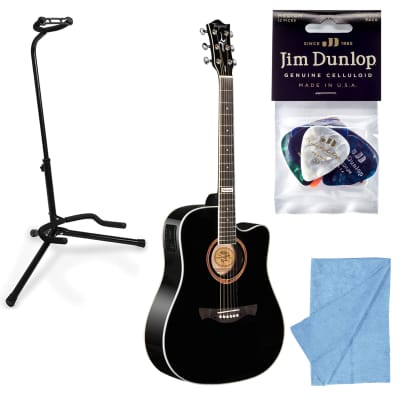 Tagima Guitars Kansas T Acoustic Electric Guitar, Black w/ Stand, Cloth, Picks for sale