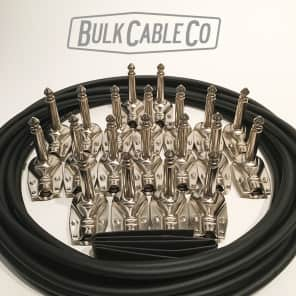 "Pedal Board Cable Kit - 10 FX Cables - 15' Mogami 2319 Cable - 20 Pancake Plugs - 30"" Heatshrink"