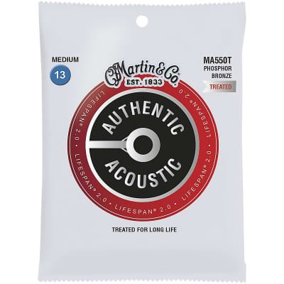 Martin MA550T Authentic Acoustic Lifespan 2.0 Phosphor Bronze Acoustic Guitar Strings - Medium (.13