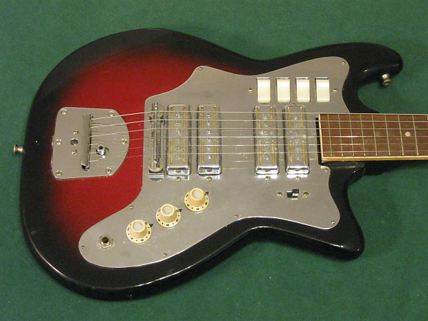 Vintage 60s Teisco 4 Gold Foil Pickup Guitar Four Ry Cooder Reverb