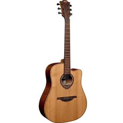 LAG T170DCE Dreadnought Red Cedar Natural Cutaway Electro Acoustic Guitar for sale