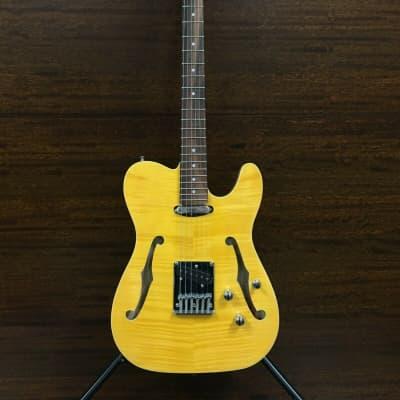 Haze HSTL 1901 2FH THRU Semi-Hollow Body Electric Guitar,Yellow Flame Maple+Free Bag+H8 Mini Headphone Amplifier for sale
