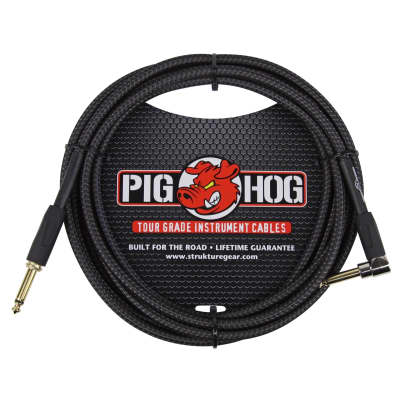 Pig Hog Vintage Series 10 Foot Right Angle Instrument Cable - Black Woven
