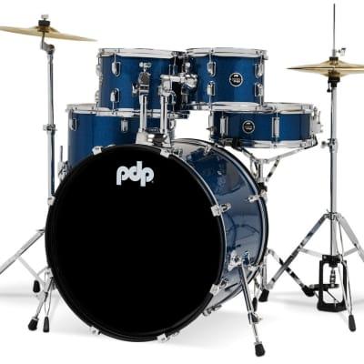 PDP Center Stage 5-Piece Full Drum Kit - 10/12/12/22/14 - Royal Blue Sparkle