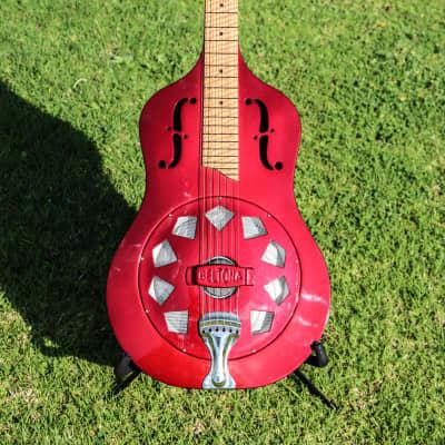 Beltona Pasifika Square Neck Single Cone Resonator Guitar 2009 Red for sale