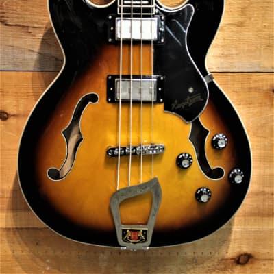 Hagstrom Viking Semi Hollow Electric Bass Guitar VIKB Tobacco Sunburst NEW for sale