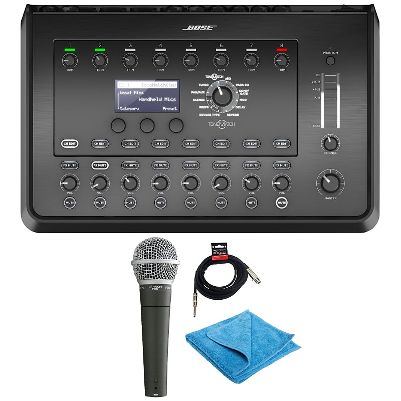 Bose T8S ToneMatch Mixer with Pyle PDMIC58 Microphone, cable & cleaning  cloth