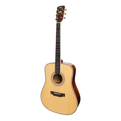 Saga SL55 All-Solid Spruce Top Mahogany Back & Sides Acoustic-Electric Dreadnought Guitar (Natural Gloss) for sale