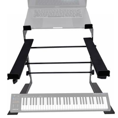 Rockville Dual Shelf Laptop+Controller Stand for Nektar Impact GX61 Keyboard