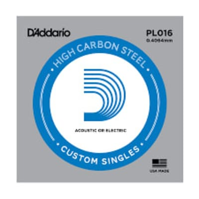 D'Addario PL016 Plain Steel Ball End .016 Single String