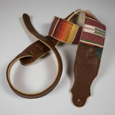 """Franklin 2"""" Saddle Blanket/Natural Cotton/Caramel Leather End Tabs"""