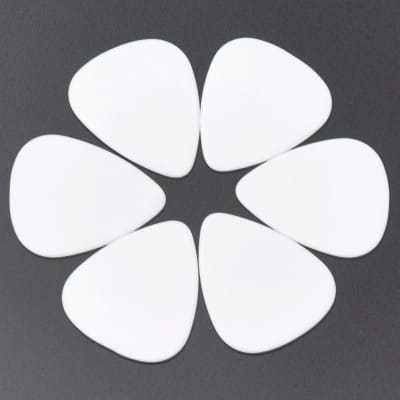 ABS Plastic White Guitar Or Bass Pick - 0.71 mm Medium Gauge - 351 Shape - 6 Pack New