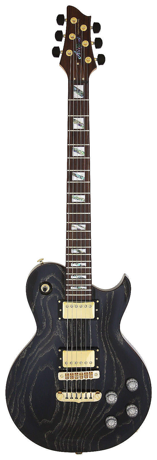NEW ARIA PRO II - PE-LUX BLACK & GOLD STAINED ELECTRIC GUITAR