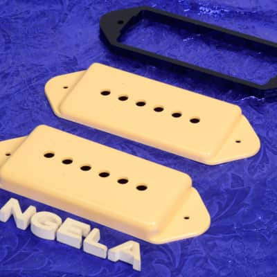 """Lindy Fralin Cream P90 Dog Ear Pickup Cover Set With .225"""" Shim For Hollow Body  Guitars New"""