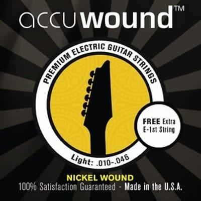 Accuwound USA Electric Guitar String Set with Free High E String Medium 10-46