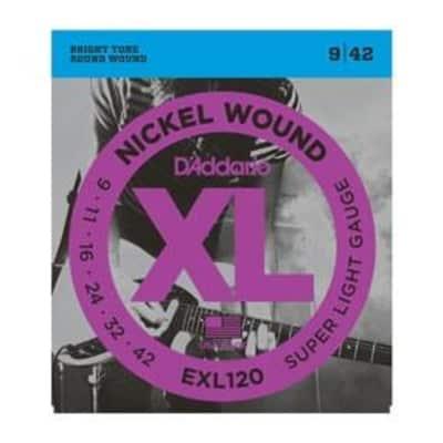 D'Addario EXL120 Nickel Wound Electric Guitar Strings - Super Light 9-42