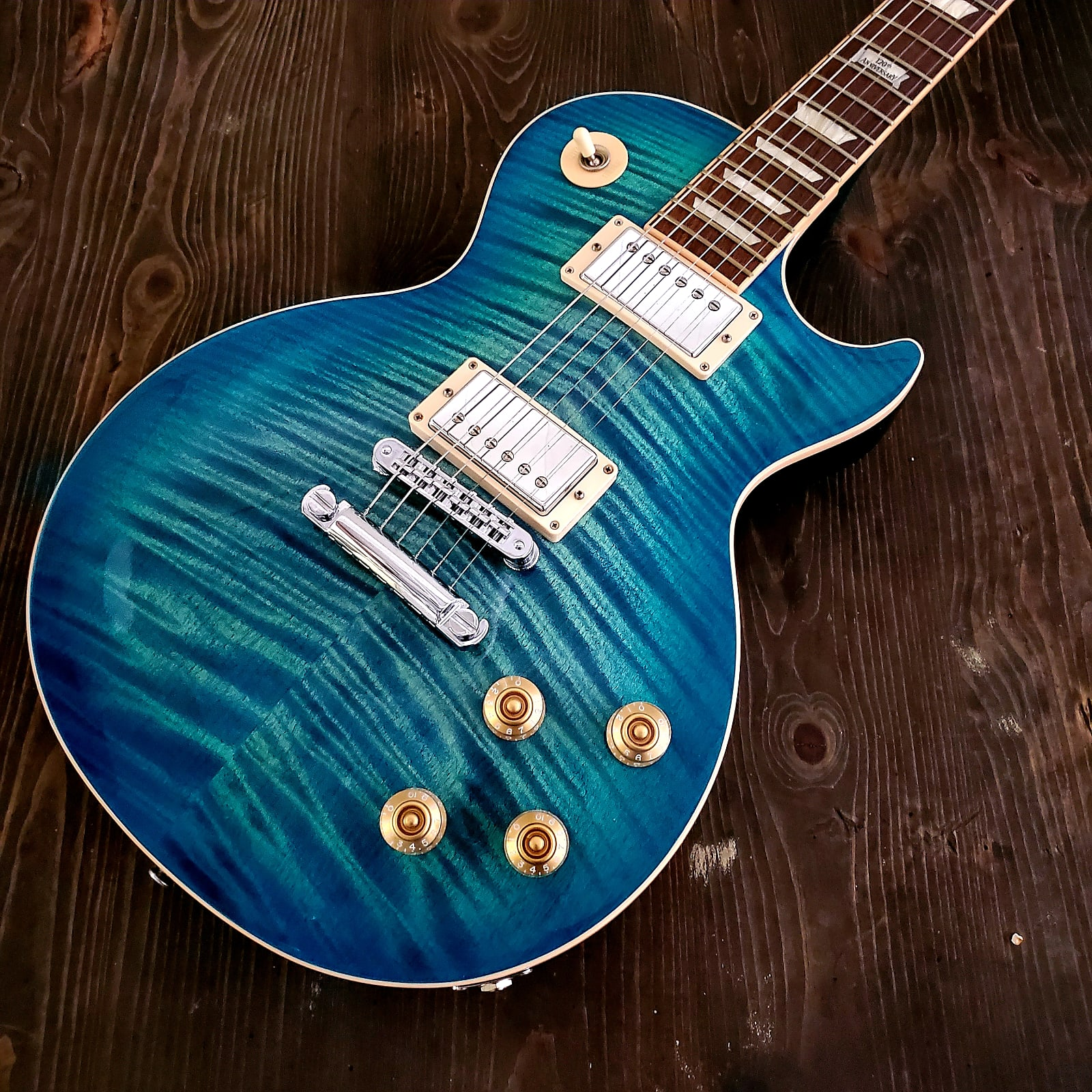 2014 Gibson Les Paul Standard Plus Ocean Water Perimeter
