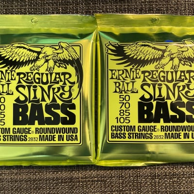 2 Sets of Ernie Ball 2832 Regular Slinky Round Wound Electric Bass Strings