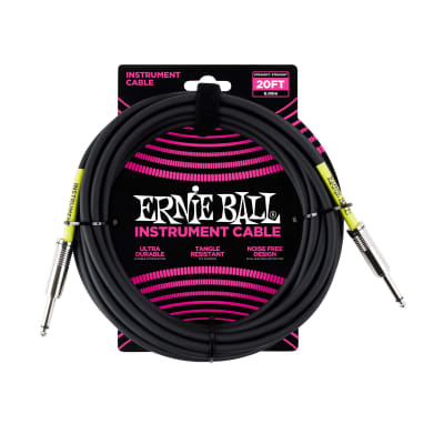NEW Ernie Ball Instrument Cable - Straight/Straight - Black - 20'