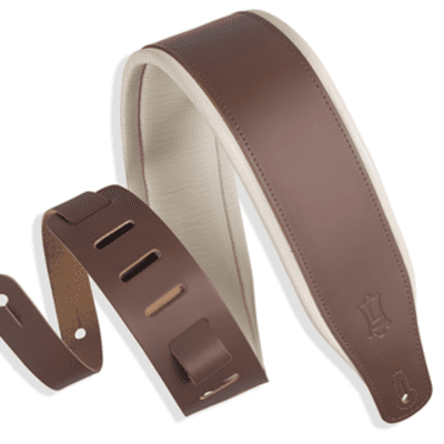 """Levy's Classic Series 3"""" Padded Top Grain Leather Guitar Strap - Brown / Cream"""