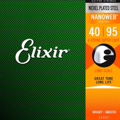 Elixir Nickel Plated Steel 4-String Bass Strings, Long Scale, Super Light, 40-95 TWO sets