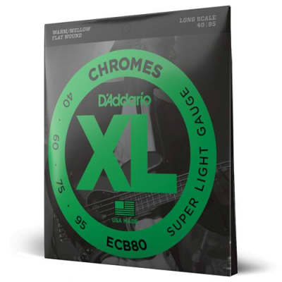 "D'Addario XL Chromes -  Flat Wound Electric Bass Strings - Custom Light (40-95) - Long Scale - (34"")"