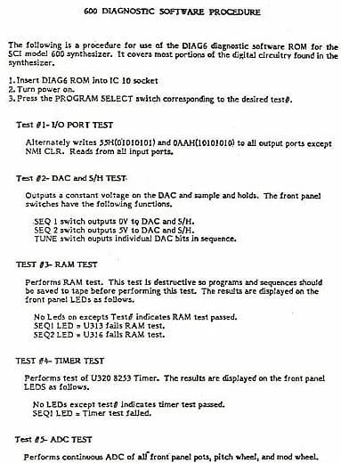 Sequential Circuits SCI Prophet 600 - Diagnostic Debug OS Firmware Repair  EPROM