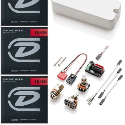 EMG P60A WHITE P-90 STYLE HOUSING ACTIVE ALNICO MAGNET PICKUP POTS & WIRING ( 3 SETS OF STRINGS )