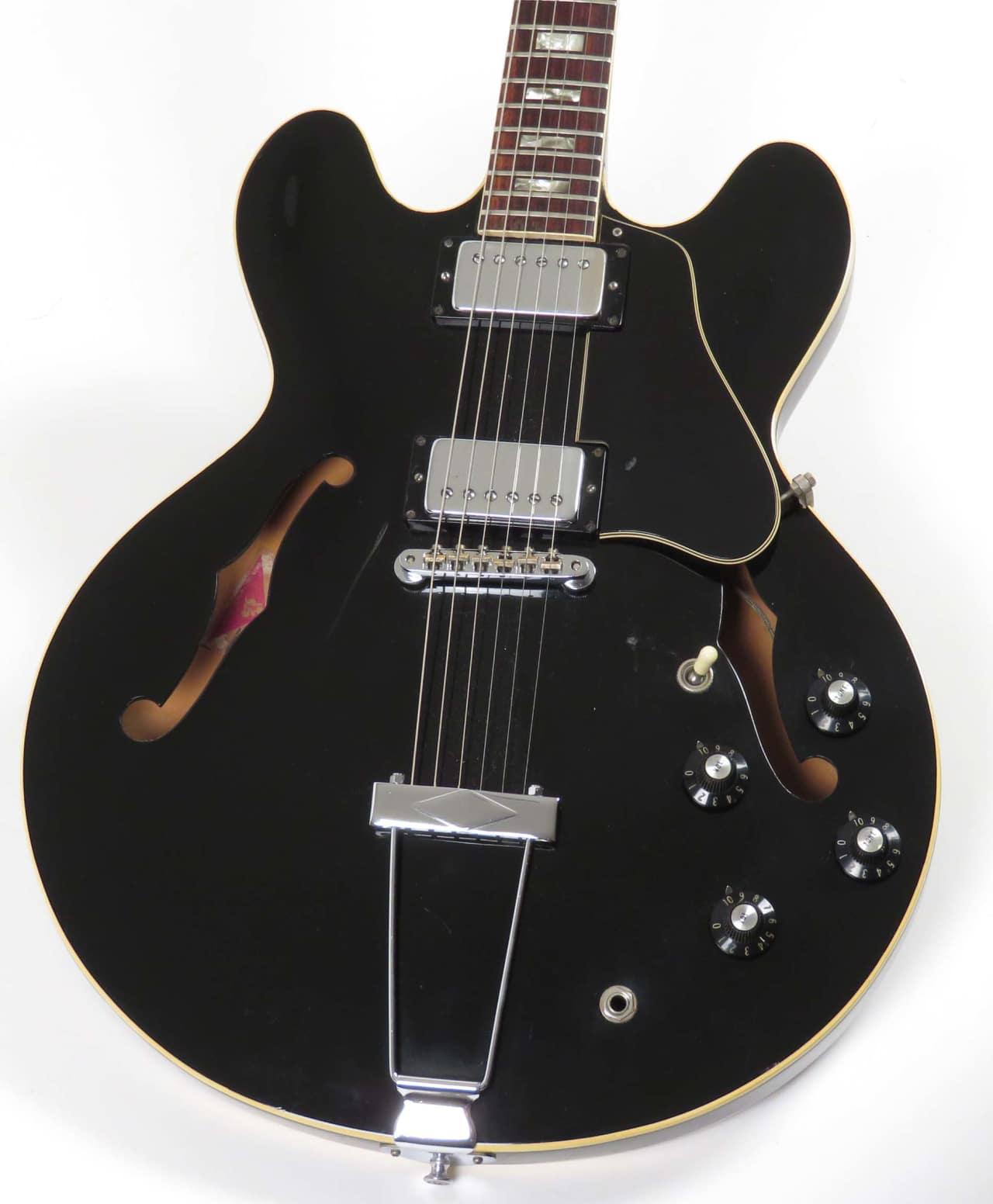 gibson es 335 1974 rare black finish nationwide guitars reverb. Black Bedroom Furniture Sets. Home Design Ideas