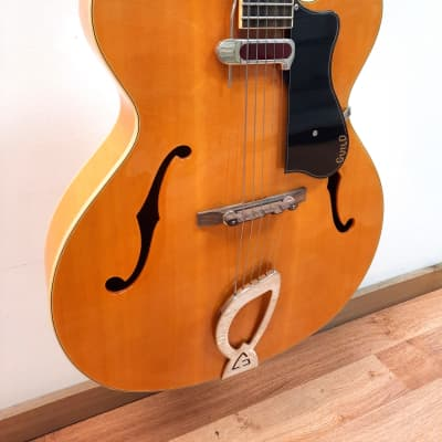 Guild A-150 Savoy Hollowbody Guitar, Blonde, arched solid spruce top, DeArmond pickup, includes case