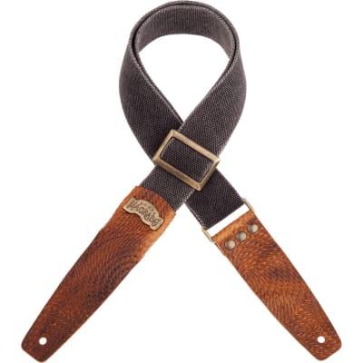 "Stripe SC Cotton Washed Black Custom 5 cm Brown Swivel Terminals, Brass ""Recta"" Buckle"