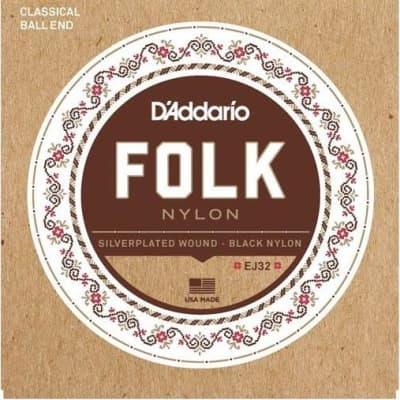 D'Addario EJ32 Folk Nylon, Ball End, Silver Wound/Black Nylon Trebles