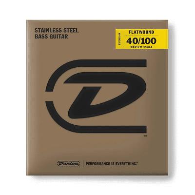 Dunlop DBFS40100M Stainless Steel Medium Scale Flatwound Bass Strings (40-100)