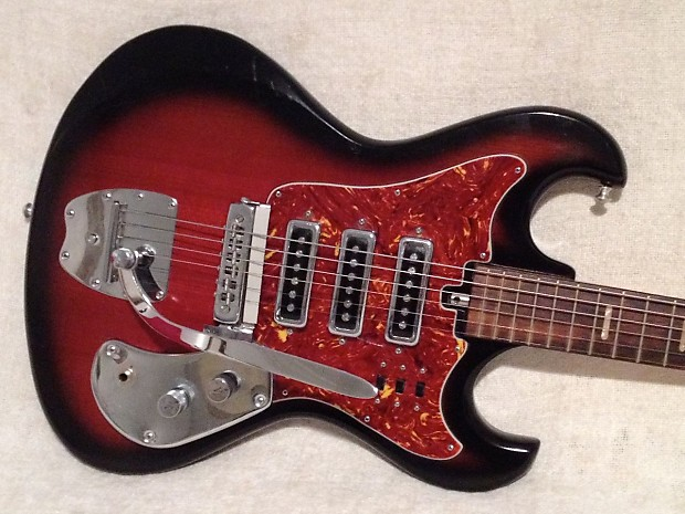1960\'s Kingston 3 Pickup Hound Dog Taylor Style Redburst | Reverb
