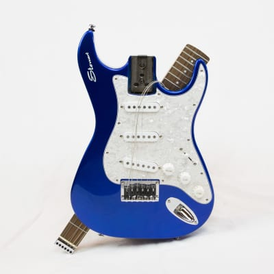 Stewart Stow-Away Travel Guitar -  Electric Blue with Pearl Pick Guard for sale