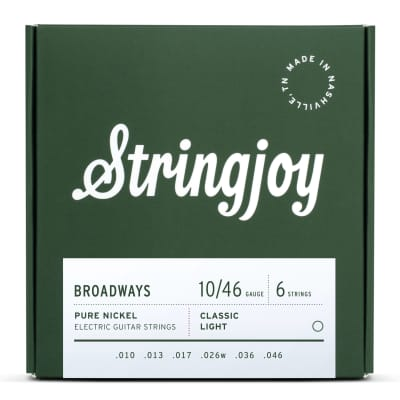 Stringjoy Broadways Classic Light Gauge (10-46) Pure Nickel Electric Guitar Strings