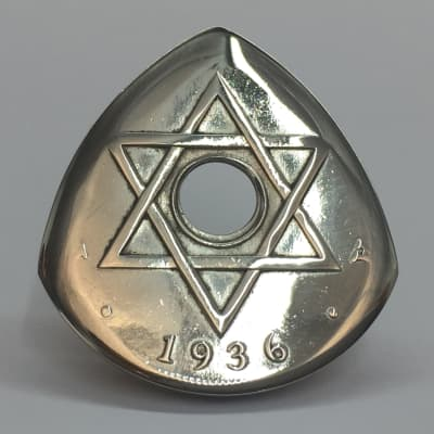 The Highland Plectrum Co. One West African 1936 One Penny Coin Plectrum.