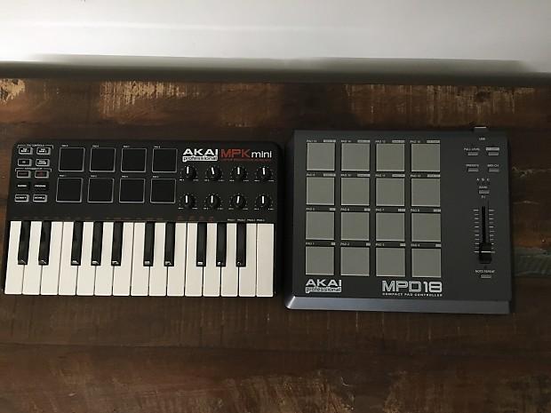 Akai MPK Mini & MPD 18 MIDI Controllers Black And Grey