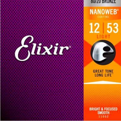 Elixir 80/20 Bronze Nanoweb Coated 12-53 Acoustic Guitar Strings Light