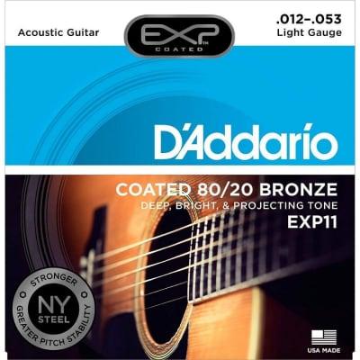 D'Addario EXP11 Acoustic Guitar Strings, 80/20, Coated, Light, 12-53