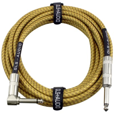 GLS Audio 20 Foot Guitar Instrument Cable - Right Angle 1/4 Inch TS to Straight 1/4 Inch Brown Tweed