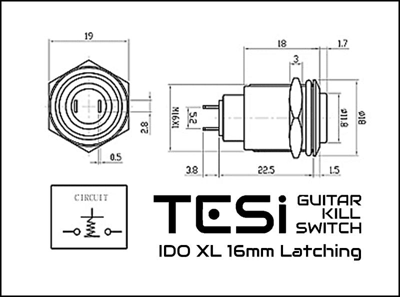 Tesi IDO//LXL 16MM Latching Push Button Metal Guitar Kill Switch Gold